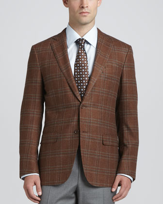 Plaid Wool/Cashmere Sport Coat, Basic Dress Shirt, Heathered Wool Trousers ...