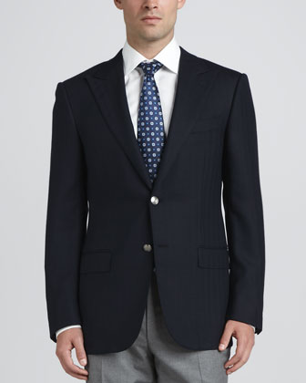 Herringbone Two-Button Sport Coat, Navy