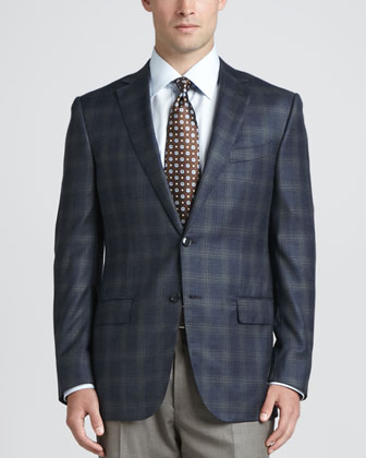 Plaid Wool-Crepe Sport Coat, Basic Dress Shirt, Heathered Wool Dress Pants ...