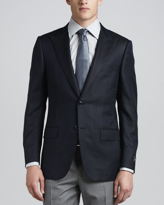 Tonal-Check Peak-Lapel Sport Coat, Navy
