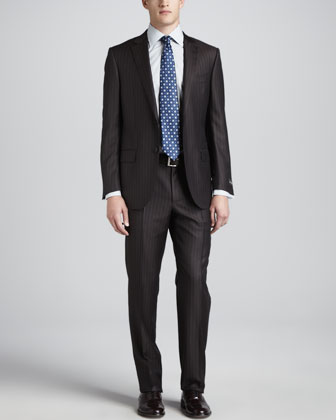 Pinstripe-Herringbone Suit, Brown/Gray