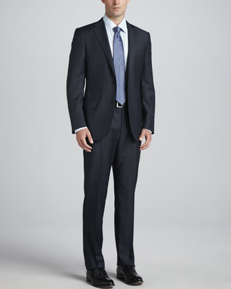 Micro-Check Wool-Crepe Suit, Blue