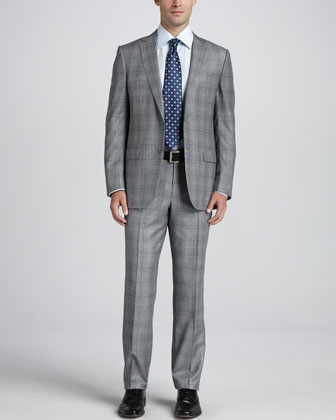 Glen Plaid Two-Piece Suit, Basic Dress Shirt & Basket-Weave-Neat Silk Tie,