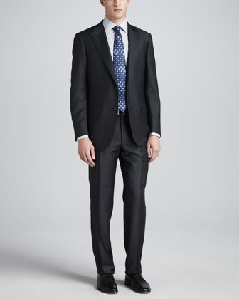 Tonal-Striped Peak-Lapel Suit, Charcoal