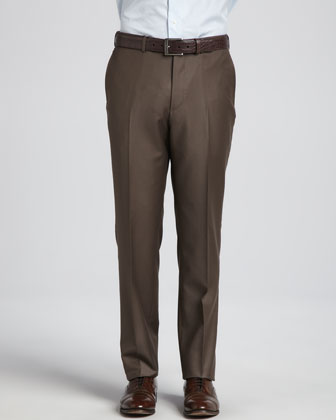 Trofeo Wool-Twill Dress Pants, Light Brown
