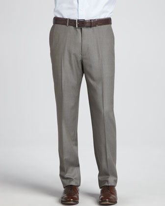 Heathered Wool Dress Pants, Beige