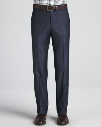 Sharkskin Dress Pants, Navy