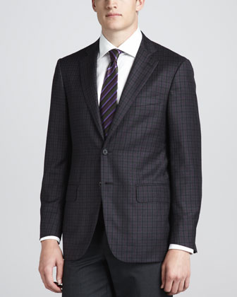 Plaid Two-Button Sport Coat, Gray