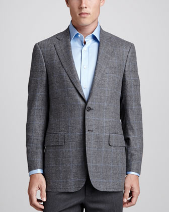 Plaid Wool Sport Coat, Gray/Blue