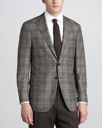 Plaid Wool/Cashmere Sport Coat, Beige