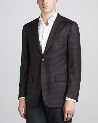 Check Sport Coat, Charcoal/Burgundy