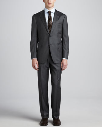 Two-Piece Pinstripe Suit, Gray/Orange