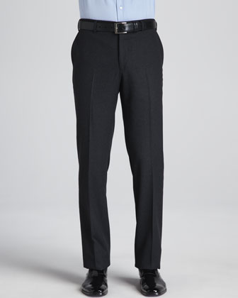 Flat-Front Wool Trousers, Medium Gray