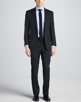 Wool-Crepe Two-Piece Suit, Navy