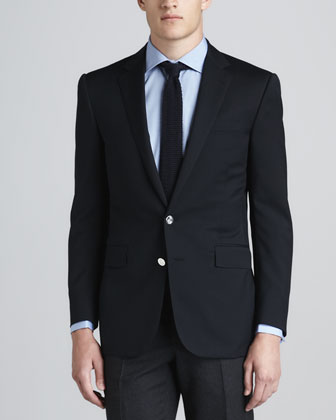 Wool-Crepe Two-Button Blazer, Navy