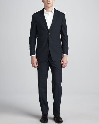 Two-Piece Solid Suit, Blue
