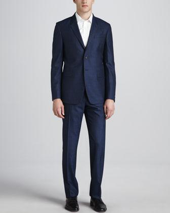 Tonal Striped Two-Piece Suit, Blue