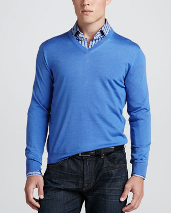 V-Neck Pullover Sweater, Light Blue
