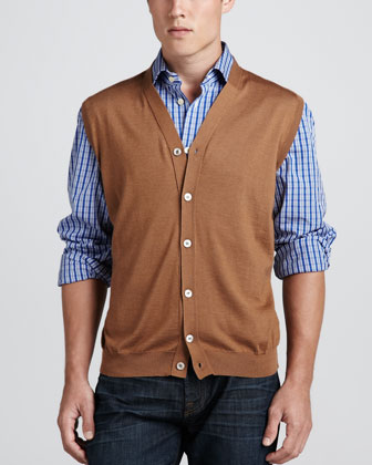 Cardigan Sweater Vest & Check Poplin Dress Shirt