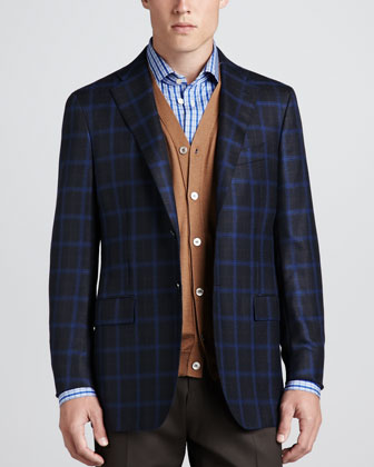 Plaid Cashmere Sport Coat, Cardigan Vest & Check Poplin Dress Shirt