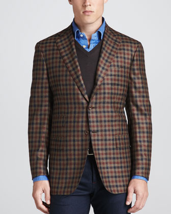 Two-Button Check Blazer, V-Neck Pullover Sweater & Chambray Dress Shirt
