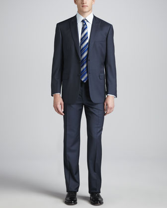 Wool Crepe Peak-Lapel Suit, Blue