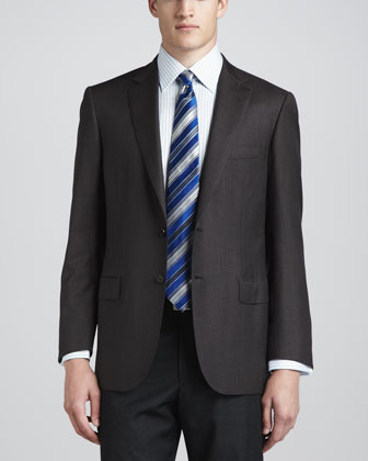 Tonal Striped Herringbone Suit, Brown