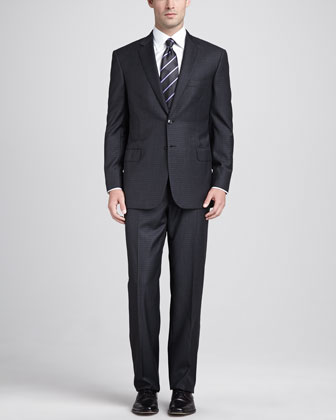 Box-Check Two-Piece Suit, Charcoal