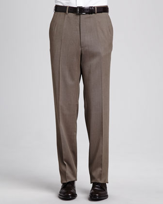 Flat-Front Twill Pants, Tan
