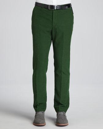 Fine-Wale Corduroy Pants, Green
