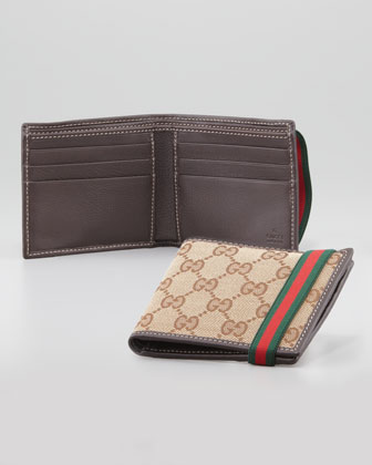 GG Bi-Fold Wallet with Elastic Band, Beige