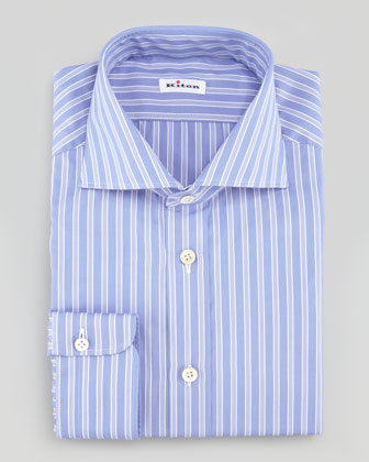 Striped Poplin Dress Shirt, Blue