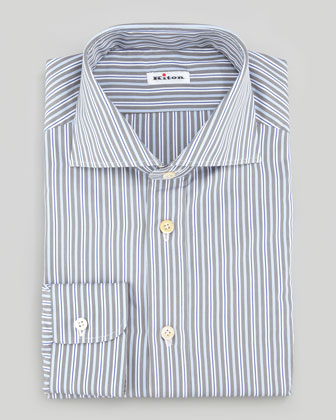 Multi-Striped Poplin Dress Shirt, Blue/White/Gray