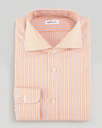 Multi-Striped Poplin Dress Shirt, Blue/White/Orange