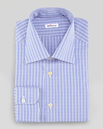 Small-Plaid Poplin Dress Shirt, Blue/White