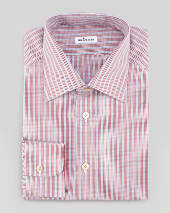 Small-Plaid Poplin Dress Shirt, Red/White