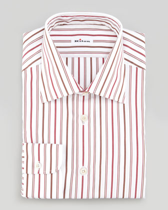 Striped Poplin Dress Shirt, Red/Brown