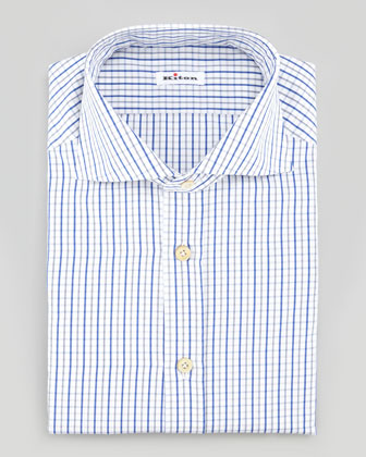 Tattersall Dress Shirt, Royal/Gray/White