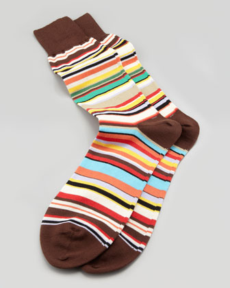 Classic Multi-Stripe Socks, Brown
