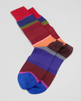 Multicolored Step-Stripe Socks, Red