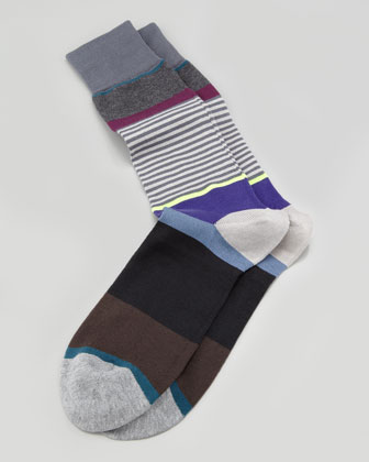 Multicolored Step-Stripe Socks, Gray