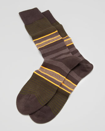 Twisted Stripe Men's Socks, Brown