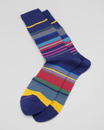 Peg-Stripe Socks, Navy