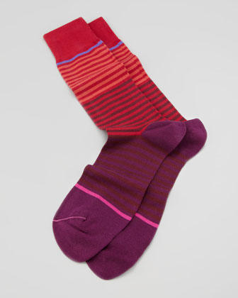 Jeans Stripe Men's Sock, Red