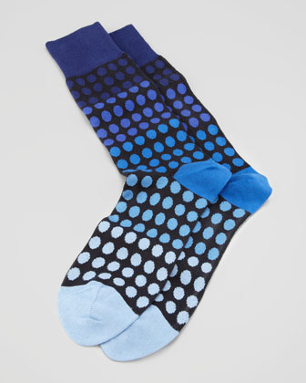 Faded Polka-Dot Men's Socks, Navy