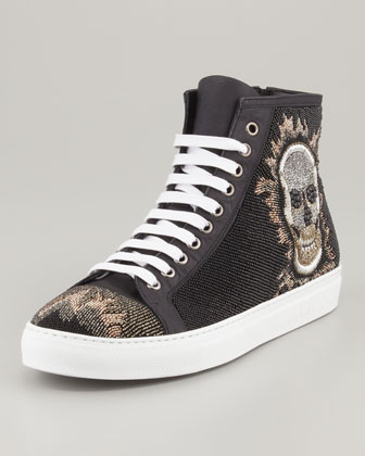 Lajos Skull Beaded High-Top Sneaker