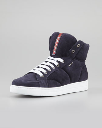 Suede Side-Zip High-Top Sneaker, Navy
