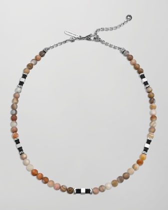 Men's Batu Classic Chain Silver Bead Necklace in Brown Agate