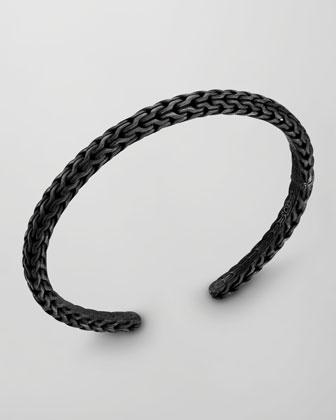 Men's Classic Chain Silver Slim Kick Cuff, Black Finish