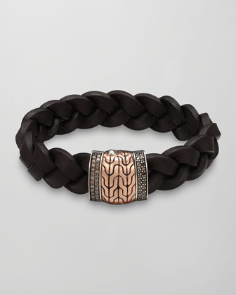 Men's Classic Chain Silver/Bronze Station Bracelet, Brown